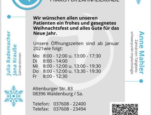 Öffnungszeiten 2021 & Bereitschaftsdienste in der Weihnachtszeit